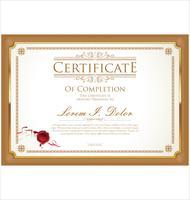 Ilustração em vetor modelo certificado ou diploma design retro