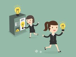 Mulher de negócios comprar novas idéias da máquina de venda automática vetor