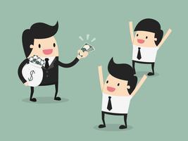 Homens recebendo salário pago vetor