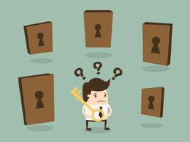 Homem negócios, escolher, direita, porta vetor
