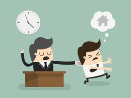 O homem quer ir para casa, mas tem que trabalhar horas extras vetor