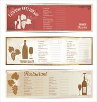 Design da lista de vinhos vetor