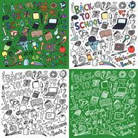 Volta para escola doodle arte pacote vetor
