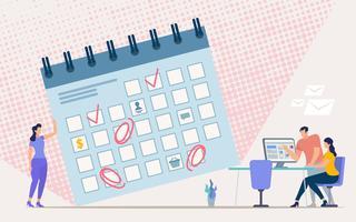 Planejando o cronograma de trabalho do escritório vetor