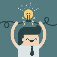 Empresário, provocando uma nova ideia. vetor