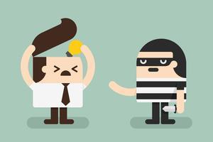 Ladrão, roubar, idéia, de, homem negócio vetor