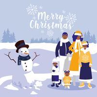 família e boneco de neve na paisagem de inverno
