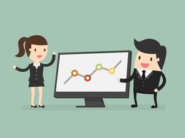 Pessoas negócio, apontar, gráfico, durante, discussão, em, reunião vetor