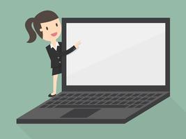 mulher de negócios, apontando para a tela do laptop vetor