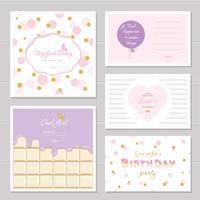 Design de cartões bonitos com glitter para meninas adolescentes vetor