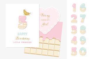 Números bonitos conjunto para design de aniversário vetor