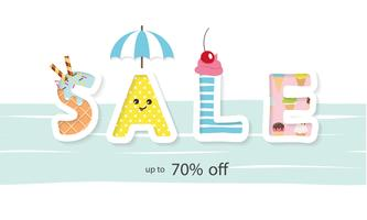 Banner de venda de verão. Letras de desenho animado.