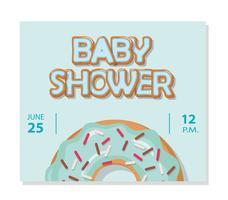 Modelo de cartão de chuveiro de bebê para meninos. Rosquinha doce. vetor