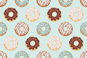 Padrão sem emenda com donuts vitrificada cores azuis e bege vetor