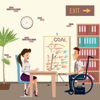 Homem com deficiência na entrevista de emprego vetor