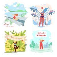 Conjunto de verão Olá escrito.