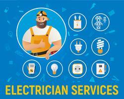 Ícones de serviço de eletricista vetor