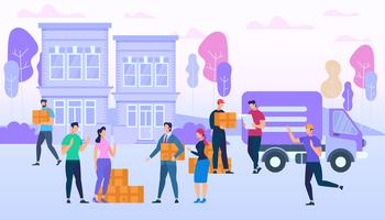 Trabalhadores de serviço de entrega, trazendo caixas por Van vetor