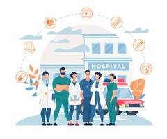 Cartaz da equipe do hospital