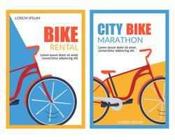 Banners de aluguel de bicicletas da cidade vetor