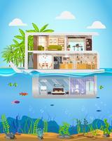 Mansão de luxo no litoral tropical vetor