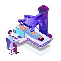 Paciente do sexo feminino com robô médico