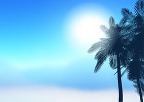 Fundo de árvores de palma de verão vetor