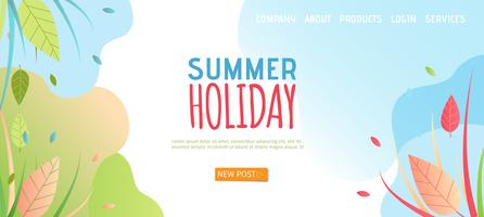 Página de chegada das férias de verão vetor
