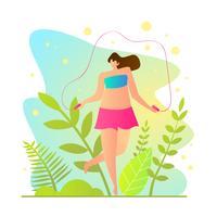 Desenhos animados da corda de salto da menina. vetor