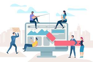 Reunião de trabalho melhora o processo de negócios vetor