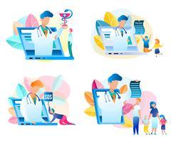 Conjunto de consulta médica on-line vetor