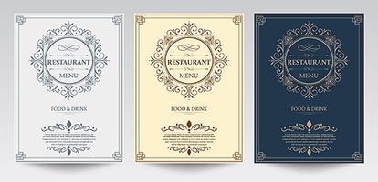 Modelo de menu de capa de restaurante. vetor