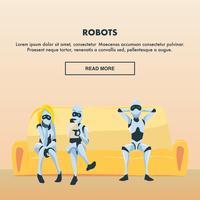 Grupo de robôs no sofá vetor