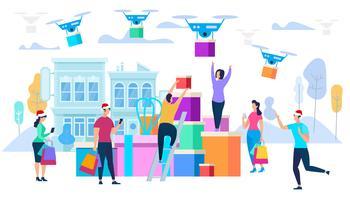 Drones carregam compras para os consumidores vetor