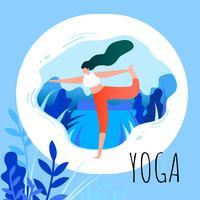 Mulher, em, Asana, posição, ioga, exercício vetor