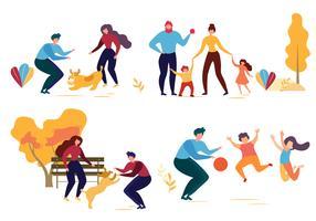 Família cão, em, parque vetor