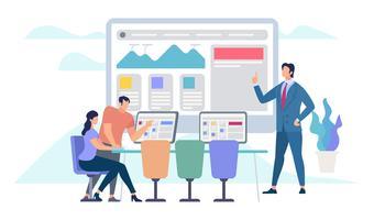 Reunião de negócios e trabalho em equipe vetor