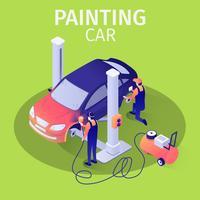Pintura de carro com pistola de pulverização em serviço Auto