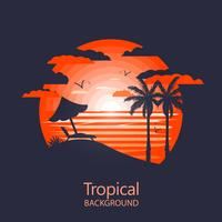 Paisagem tropical quente vetor