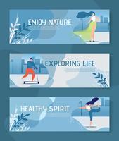 Conjunto de Banners de cabeçalho motivacional de melhoria de vida