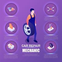 Mecânico de reparação de automóveis infográfico vetor