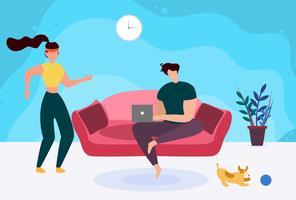 Homem, com, laptop, ligado, sofá, e, ativo, mulher desportiva vetor