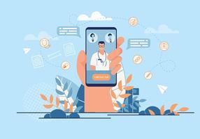 Inscrição de Banner informativo médico aplicativo. vetor