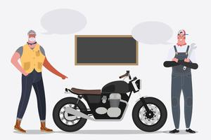 Motociclista traz moto para garagem. vetor