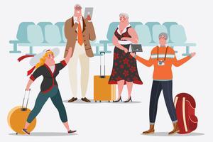 As pessoas no aeroporto estão felizes em conhecer. Adultos usam tablet vetor