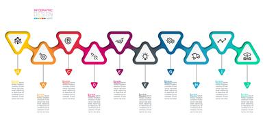 Triângulos rótulo infográfico com passo a passo. vetor