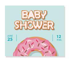 Cartão de chuveiro de bebê doce donut vitrificada creme rosa. vetor