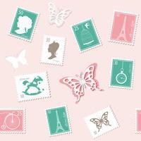 Fundo sem costura postal vintage com selos retrô diferentes