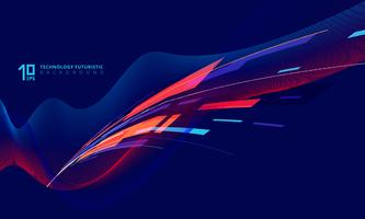 Perspectiva tecnologia torcendo linhas em azul escuro vetor