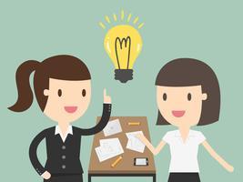 Mulher negócio, explicando, um, plano financeiro, para, colegas, em, reunião vetor